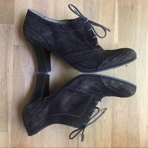 San Marina PARIS Brown Suede Heeled Booties 38